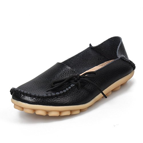 ALLY UNION MAKE FORCE Women's Soft Leather Loafers Flat Slip-on Shoes Casual Driving Boat Shoes Black-b