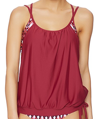 Next Women's Double up 2 D-Cup Two-Fer Tankini, Cranberry, 38D