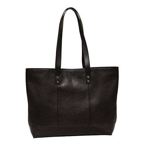 Bellino Leather Tote - Bellino Women's Miranda Leather Tote Shoulder Bag, Black, One Size