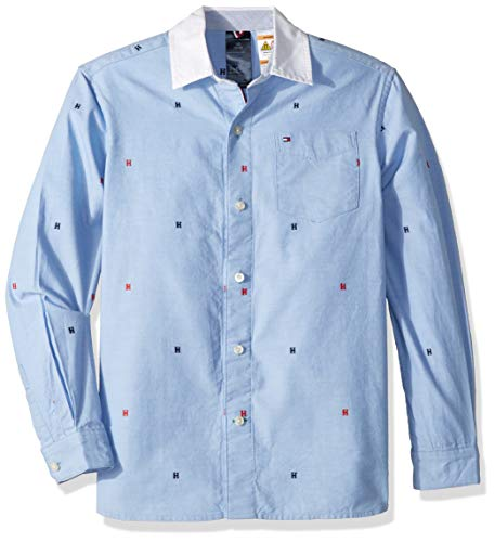 Tommy Hilfiger Boys' Big Magnetic Button Shirt, Collection Blue, Medium - Tommy Hilfiger Collection