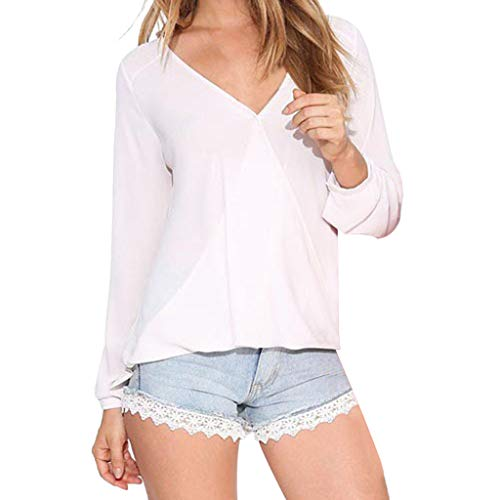 Womens Casual Tops Shirt Ladies Deep V Neck Loose T-Shirt Blouse Tee Top White