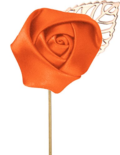 Flairs New York Gentleman's Essentials Premium Handmade Flower Lapel Pin Boutonniere (Pack of 1 Pin, Mandarin Orange [Rose Gold Leaf])