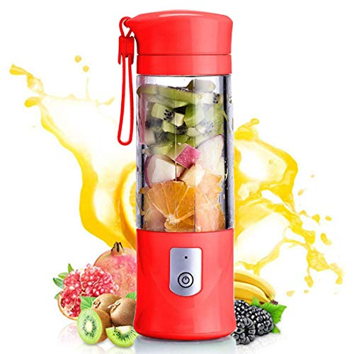 - XMX Portable Mini Travel Fruit USB Juicer Cup, Personal Small Electric Juice Mixer Blender Machine with 4000mAh Rechargeable Battery-420ML(Red)