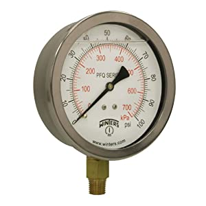 """Winters PFQ Series Stainless Steel 304 Dual Scale Liquid Filled Pressure Gauge with Brass Internals, 0-100 psi/kpa,4"""" Dial Display, +/- 1.5% Accuracy, 1/4"""" NPT Bottom Mount"""