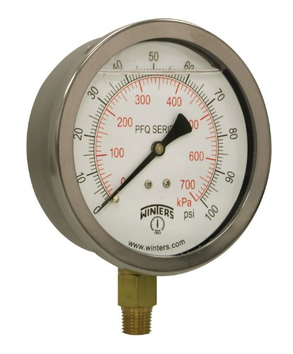 Winters PFQ Series Stainless Steel 304 Dual Scale Liquid Filled Pressure Gauge with Brass Internals, 0-100 psi/kpa,4