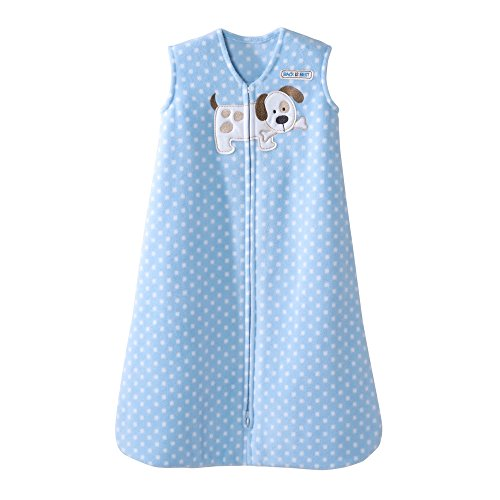 Puppies Fleece Blanket (Halo Blue Dot Puppy SleepSack Wearable Baby Blanket, Micro-Fleece, Medium)