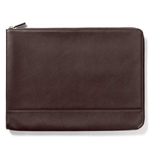 Leatherolgy Zippered Document Holder with Interior Pocket for Tablet - Full Grain Leather - Chocolate (Brown)