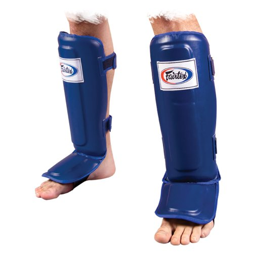 Fairtex Pro-Style MMA Shin-Instep Guards, Blue, - Pro Leather Shin Guards Instep