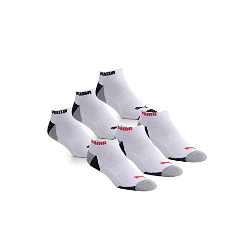 Puma 6-Pack No Show Mens Socks Stay-Up Cuff and Heel Cushioned Arch Support, White/Black/Red, 10-13