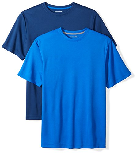 Amazon Essentials Men's 2-Pack Performance Mesh Short-Sleeve T-Shirts, Royal/Navy, Large