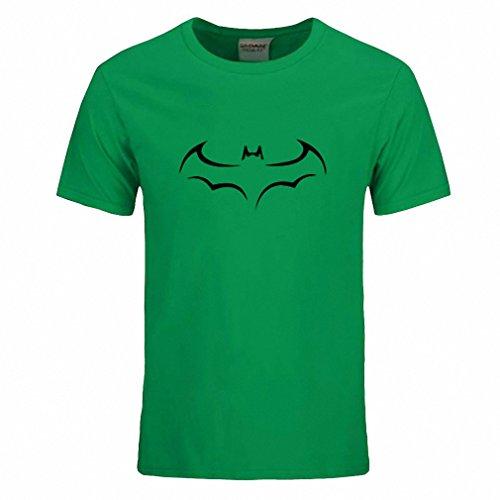 Cotton Men T Shirt Casual Short Sleeve T-Shirt For Men Batman Print Men T Shirt Crewneck Mens Tee Shirt Green and black S