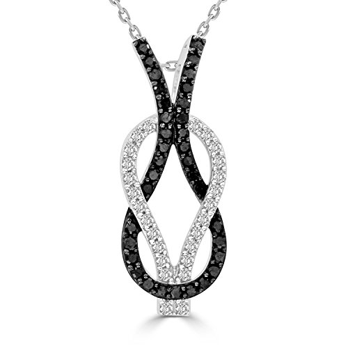 Round Black & White Diamond Infinity Knot Pendant With 18