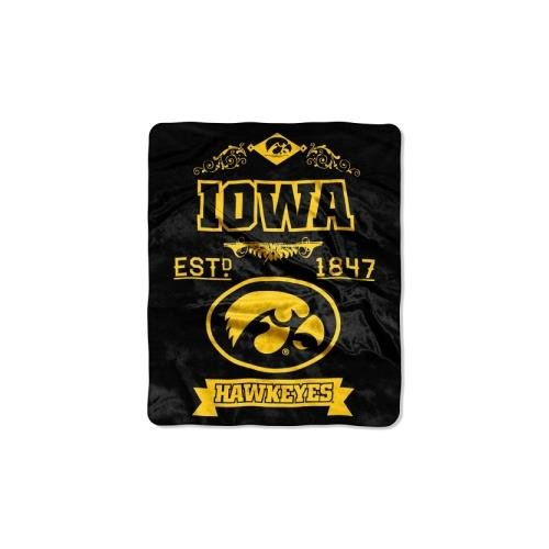 Iowa Hawkeyes Pillow (NCAA Iowa Hawkeyes Label Plush Raschel Throw, 50