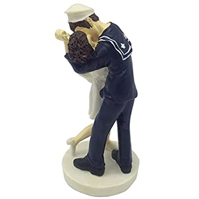 E-muse Resin Nautical Theme Sailor and His Girl Bride and Groom Wedding Cake Topper 5.9-inch Height