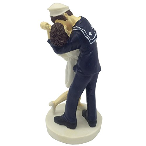 Price comparison product image E-muse Resin Nautical Theme Sailor and His Girl Bride and Groom Wedding Cake Topper 5.9-inch Height