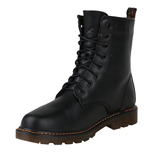 Stiefelparadies Damen Outdoor Worker Boots Prints Warm Gefütterte Stiefeletten Flandell Schwarz Bernice
