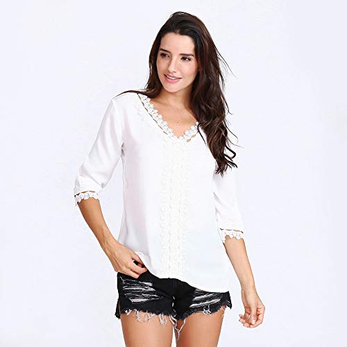 GiveKoiu Body Chemise Blanc Longues Chemisier Manches Femme rrZqR1wn