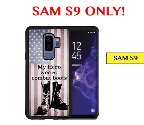 SAM S9 - My Hero Wears Combat Boots U.S.A. Flag Grunge Samsung Galaxy S9 Rubber TPU Silicone Phone Case]()