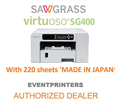 Sawgrass Virtuoso SG400 Sublimation Printer with original Sublijet HD inks (complete set) and 220 SHEETS of 8-1/2 x 11 Sublimation Paper (Made in Japan). This offer includes Creative Studio Software! by Sawgrass