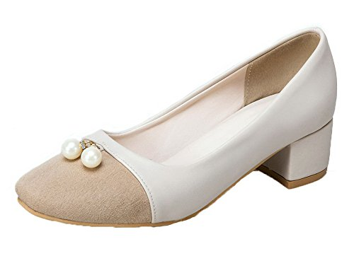 Toe AmoonyFashion Square Shoes Solid Pull Kitten PU On Womens Heels Beige Pumps wnqTnOaFx