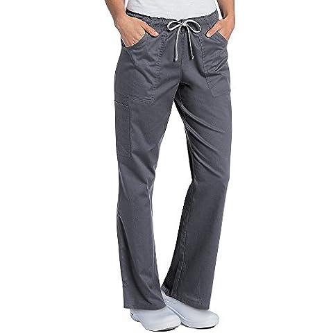 All Day By Landau Women's Full Elastic Cargo Scrub Pant X-Small Petite Steel - Elastic Cargo Scrub Pants