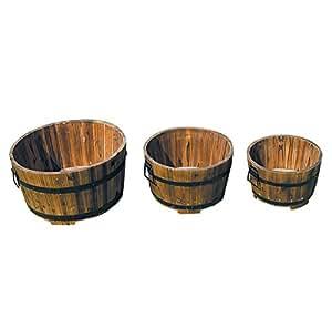 Bentley Garden juego de 3 redondos de madera barril maceteros de flores maceta pantalla