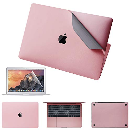 """JRCMAX 5-in-1 Macbook Full Body Stickers For Macbook Air 13-inch 13"""" A1369/1466 ,3M Full-Cover Protector Vinyl Decal Skin [Top + Bottom + Touchpad + Palm Rest) with Screen Protector (Rose gold)"""