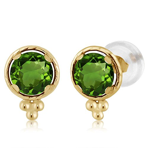 Gem Stone King 1.00 Ct Round 5mm Green Chrome Diopside 14K Yellow Gold Stud Earrings