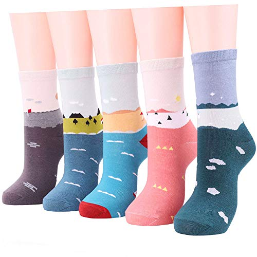Womens Cute Crew Socks 5 Pack, Comfort Novelty Cotton Dress socks (Muli-color-1 (Shoe Size 5-9/ Sock Size 9-11)) -
