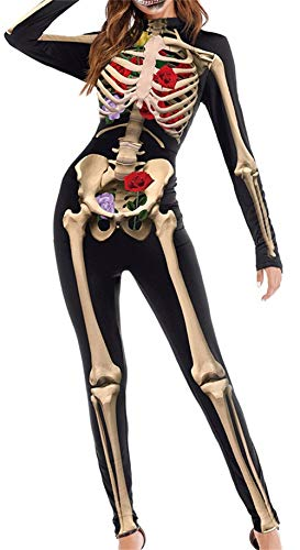 Armofy Halloween Skeleton Skull 3D Print Jumpsuits Cosplay Skinny Funny Catsuits Bodysuits Rompers Black -