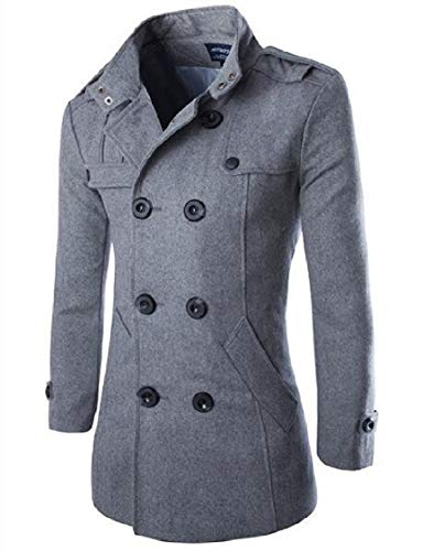 Woolen Mens Turn Collar Grey Trench Down Breasted Energy Solid Thickening Dark Double UHYdw1aq