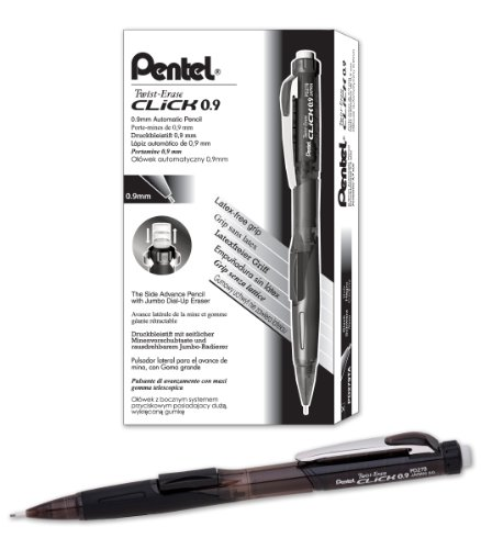 Pentel Twist-Erase CLICK Mechanical Pencil (0.9mm) Assorted Black Barrels, Color May Vary, Box of 12 (PD279TA)