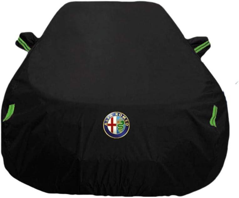 Compatible avec Alfa Romeo Giulia Stelvio Alfa 156 Protection Solaire Anti-Pluie Thicken Isolation Car Cover Color : Black, Size : Alfa 156