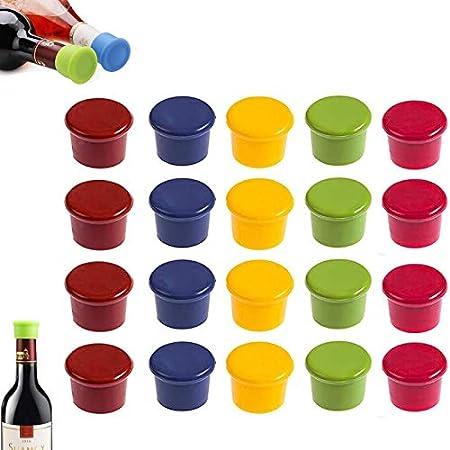 gotyou 20 Piezas Tapones de Vino Silicona, Vino Caps Tapones de Botella de sellador, Tapón de Vino de Silicona de Grado alimenticio Tapa de Botella de Vino, Silicona Reutilizable Vino y Bebidas