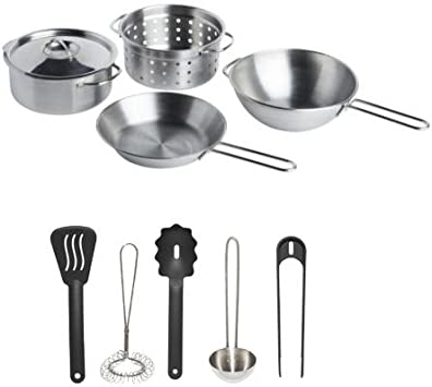 IKEA Stainless Steel 10-Piece Children s Pretend Play Cookware and Utensil Set, Silver Black