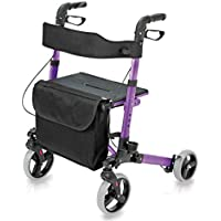 HealthSmart Euro Style Four Wheel Lightweight Aluminum Foldable Rollator Walker Weight Capacity up to 300 pounds (Purple)
