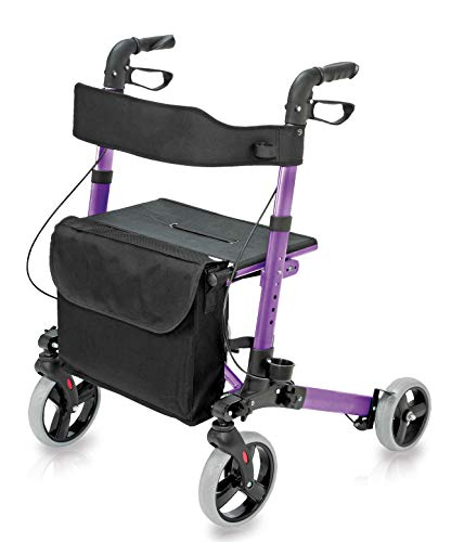 - Four Wheel Rollator Walker with Seat for Seniors made of compact folding lightweight aluminum includes seat, backrest, cane holder and storage tote holds a weight capacity up to 300 pounds, Purple
