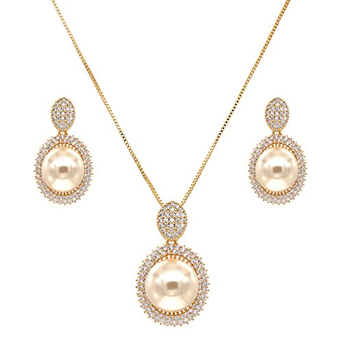 (Lavencious Oval Dangle Jewelry Set Cream Color Pearl Necklace & Earrings Trendy AAA Cubic Zirconia Gold Plated for Women (Gold) )