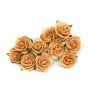 "1"" Orange Paper Flowers Paper Rose Artificial Flowers Fake Flowers Artificial Roses Paper Craft Flowers Paper Rose Flower Mulberry Paper Flowers, 20 Pieces 1"