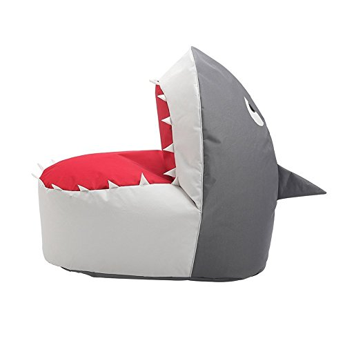 Loghot Creative Shark Cartoon Lazy Sofa Bean Bag Chair for Kids Lovely Tatami Oxford Fabric Settee, 37.4 X 26.7 X 34.2 inches (Coffee/White/Grey)