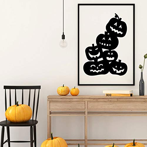 Dozili Halloween Decoration - Stacked Pumpkins Wall Decal - Fall Vinyl Decor for The Home Office Or Classroom 24