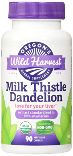 Oregon's Wild Harvest Milk Thistle Dandelion Supplement, 90 Count vegetarian capsules