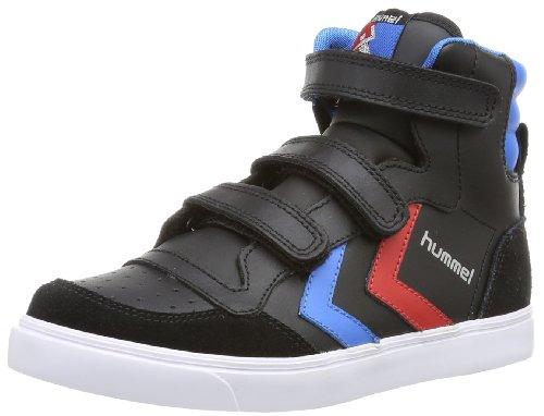 hummel HUMMEL STADIL JR LEATHER HIGH, Unisex-Kinder Hohe Sneakers, Schwarz (Black/Blue/Red/Gum), 32 EU (13 Kinder UK)