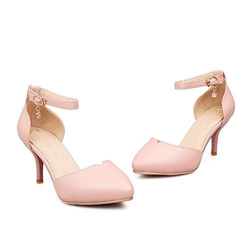 Amoonyfashion Damesschoenen Met Gesloten Punt Midden Van De Hiel Zacht Materiaal Pu Stevige Sandalen Met Metalen Gespen Roze