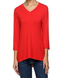 ANGVNS Women Short Sleeve Comfy Loose Fit Long Tunic Top