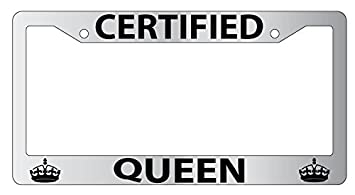 certified queen high quality chrome metal license plate frame 666