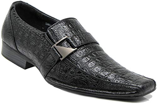 Enzo Romeo Santcro Men's Dress Crocodile Print Loafers Elastic Slip on with Buckle Fashion Shoes Runs Half Size Big (10.5, Black)