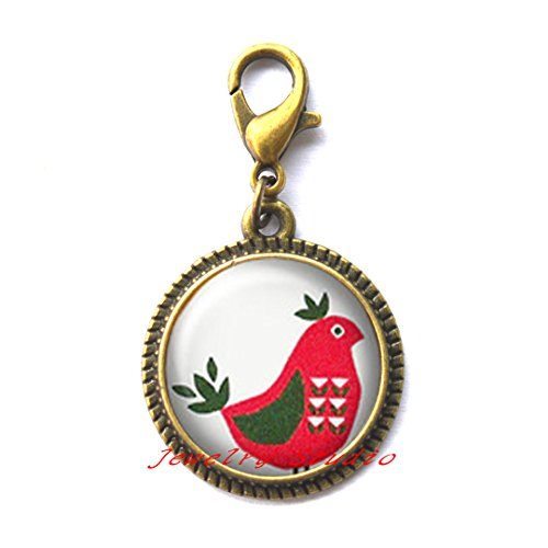 Cute chicken, red Hen, Tribe Turkey, Pattern on the body, Silver Zipper Pull jewelry, Zipper Pull clip,Art Photo chicken Zipper Pull Best Gift for Valentine's Day-HZ00301 (Chirstmas Clipart)
