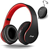 Bluetooth Over-Ear Headset with Deep Bass, Foldable Wireless and Wired Stereo Headphones Buit in Mic for Cell Phone, PC,TV, PC,Soft Earmuffs &Light Weight for Prolonged Wearing (Black/red)
