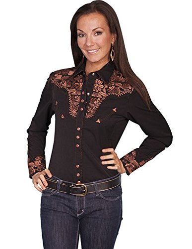 9b705b4d Scully Women's Silver Western Embroidered Shirt – Pl654-Slv   West ...